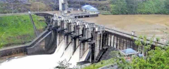 Two spill gates of Upper Kotmale Dam opened