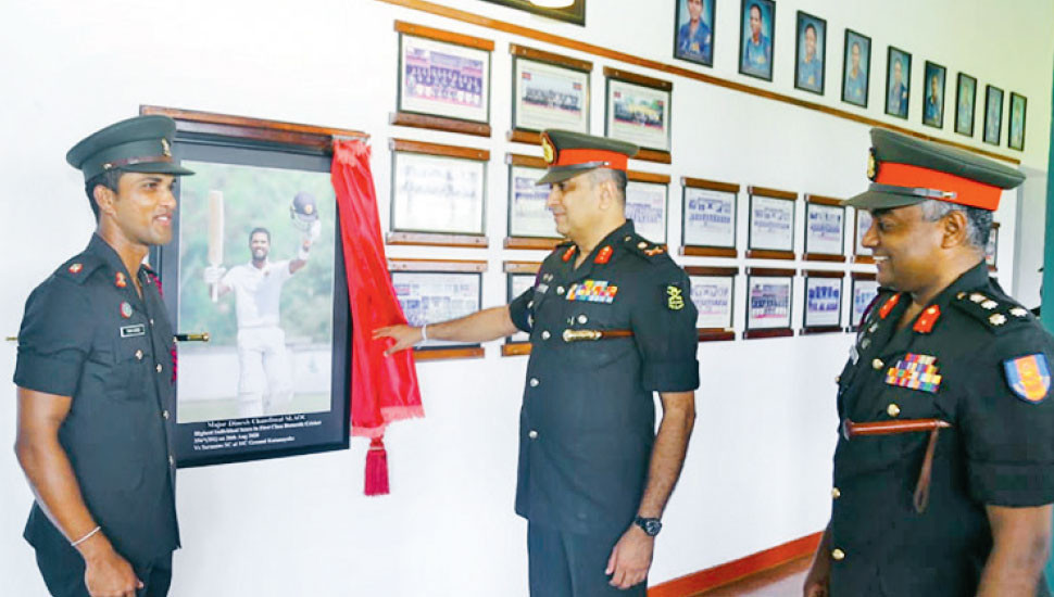 Major Dinesh Chandimal's portrait unveiled