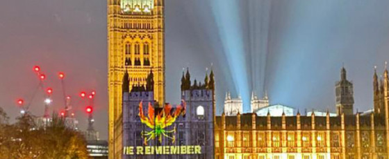 LTTE symbol projected on UK House of Parliament