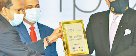 BOC wins 'Top Ten Most Admired Companies in Sri Lanka' Award