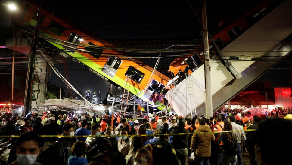 Mexico City rail overpass collapses, killing 15 and injuring 70