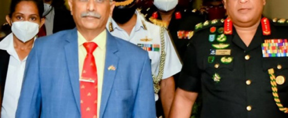 Kandyan 'Ves' dancers welcome Indian Army Chief at airport
